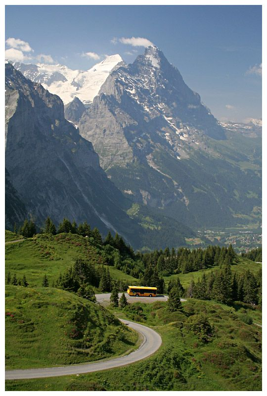 Eiger north face - Bus descending from Grosse Scheidegg mountain pass down to Grindelwald.