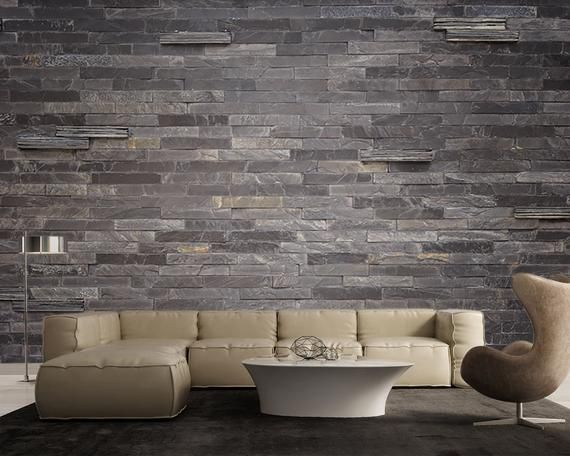 Purple Grey Slate Stone Wall Background Large Wall Mural Self Adhesive Vinyl Wallpaper Peel Stick Fabric Wall Decal In 2021 Faux Stone Walls Stone Walls Interior Diy Stone Wall