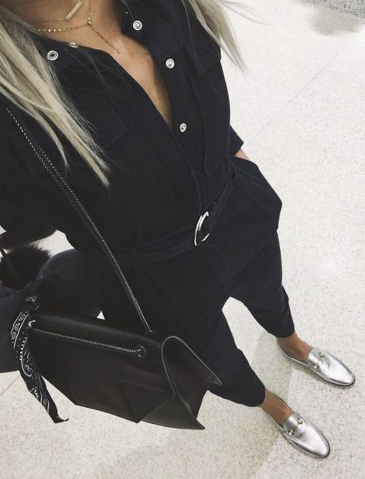 all black + silver loafers