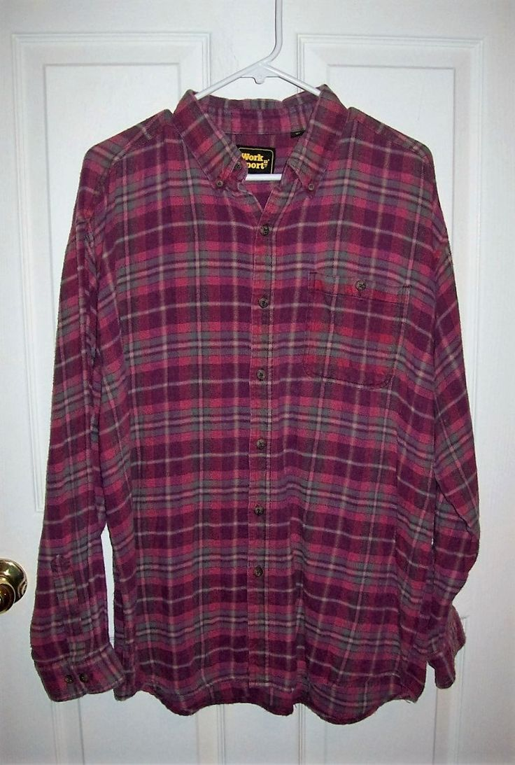 Vintage Men's Wine Plaid Flannel Shirt by Work n' Sport XL Only 8 USD by SusOriginals on Etsy