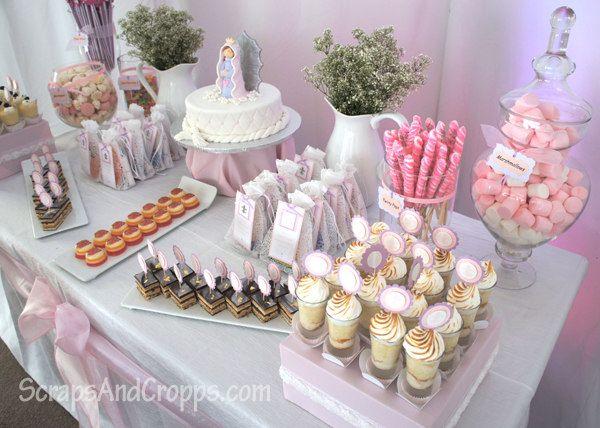 Decoracion Primera Comunion Virgen De Guadalupe ~ decoraci?n, primera comuni?n, rosado, ni?a, mesa dulces  primera