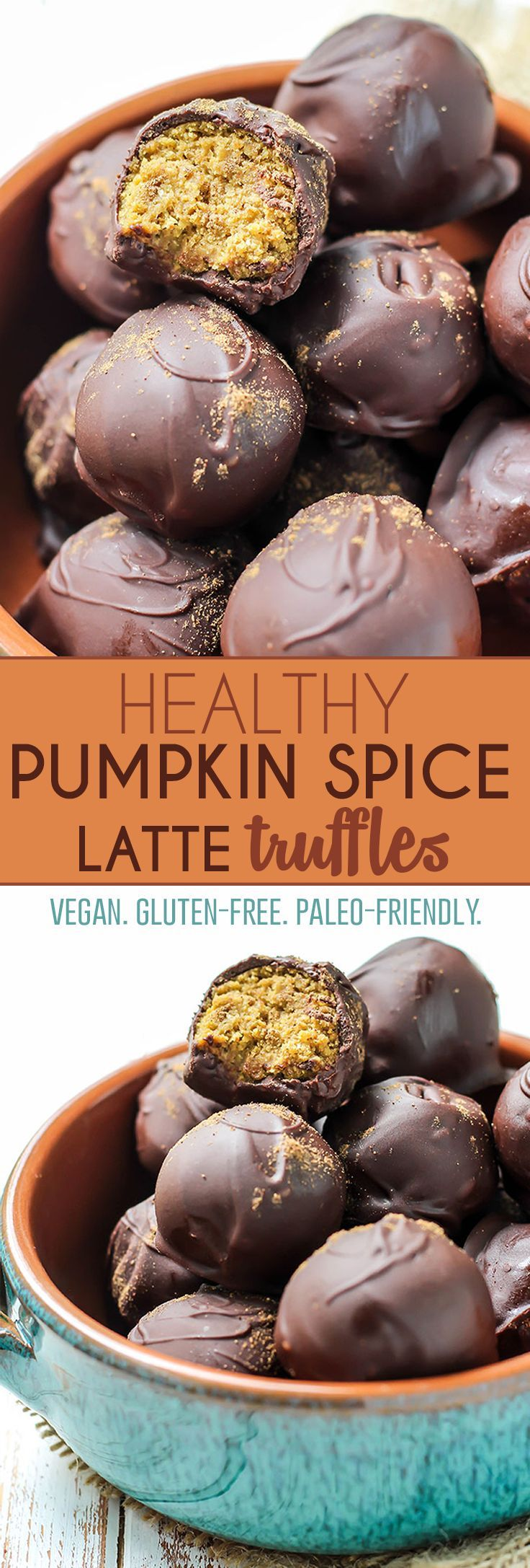 Love these Pumpkin Spice Latte Truffles. Your favorite fall drink transformed into a healthy chocolate treat! Made with plant protein blend for a superfood boost, and a tested paleo option. Under 100 calories per truffle, vegan and gluten-free!