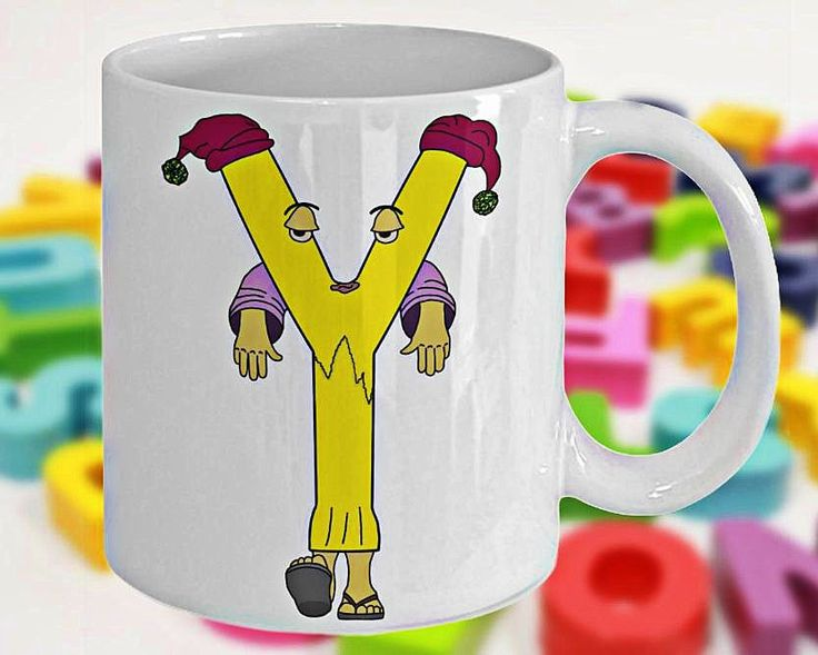 Alphabet Mug with Funny ABC Cartoon Characters as Children's Initials, Fun Gift for Kids, Letter Y, 11oz, White Ceramic, Double-Sided Print by PortunaghDesign on Etsy