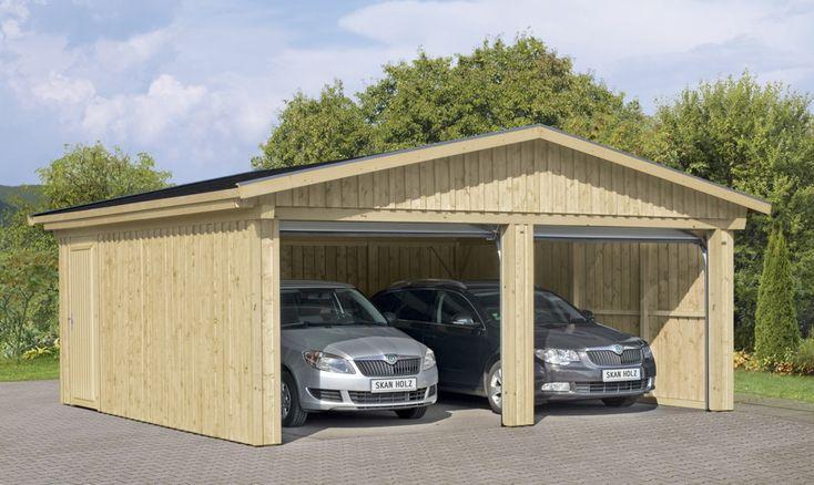 Garage SKANHOLZ Falun Doppelgarage Holzgarage Bausatz verschiedene Ausführung - Platz für zwei Autos in dieser Holzgarage mit Satteldach. Mit seitlichem Eingang.