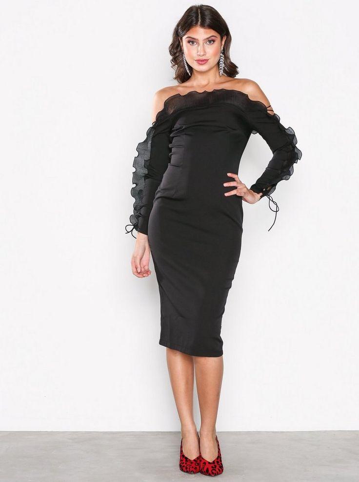 Frill Bardot Midi Dress