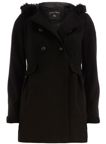 Black fur duffle coat