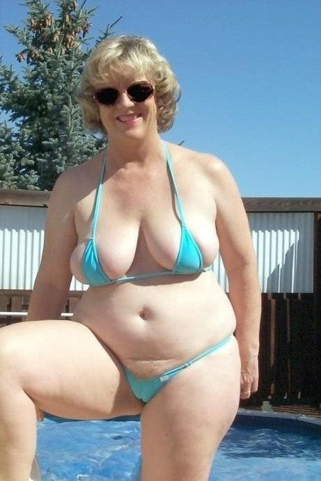 One bathing suit for busty woman does show