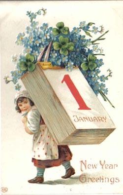 New Year Flower Postcard