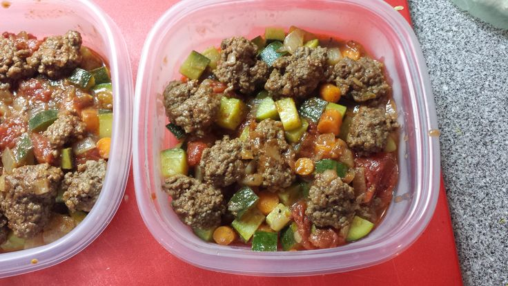 Ground beef, Zucchini, Carrots, Peppers, and Tomatoes