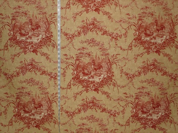 Chicken rooster toile fabric french country gold brick red for French toile fabric