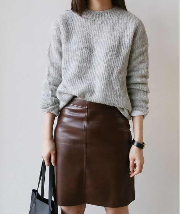 leather pencil skirt and sweater, autumn, style, fashion, colour, fabric