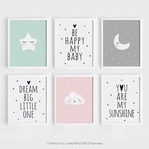Printable Nursery wall Art Set of 6 Poster Baby Girl Boy room decor Star Moon Quotes Be happy my baby Digital print download ARTsopoomc