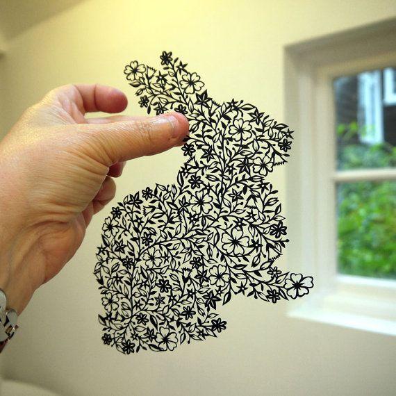 handcut rabbit papercut