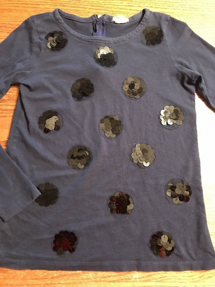 Crewcuts Girls Size 12 Black Sequin Dot Long Sleeve Navy Tee Shirt  | eBay