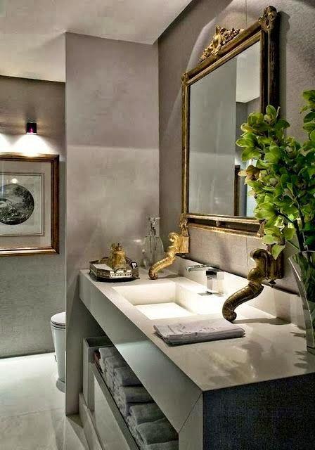 Elegant gold, gray & white bathroom.