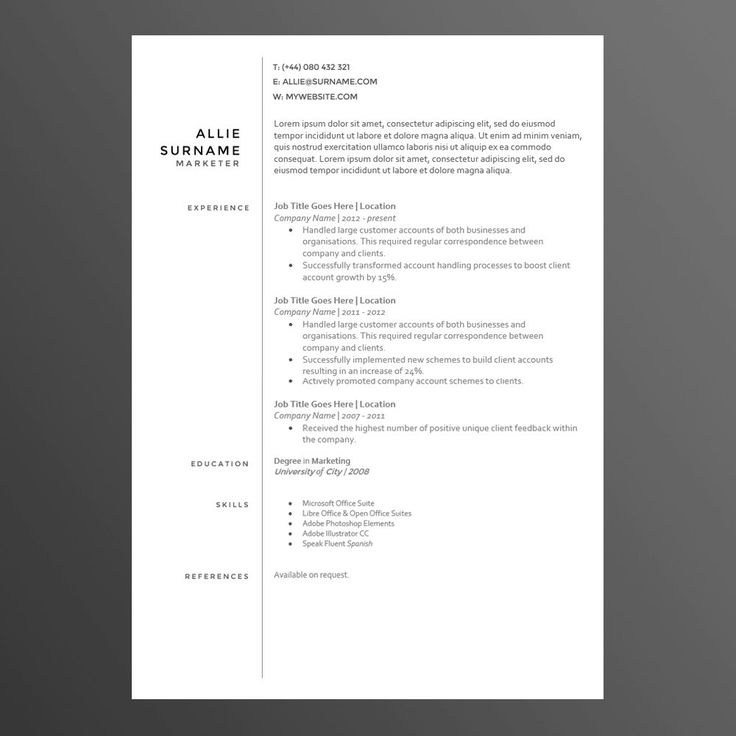 8 best Cv images on Pinterest Cv template, Resume templates and
