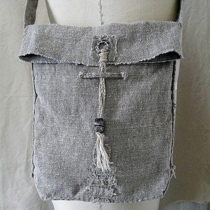 Wabi-Sabi Vintage Linen Shoulder Bag, with hand-plied linen cord and steel metal clay accents; Kathy Van Kleeck