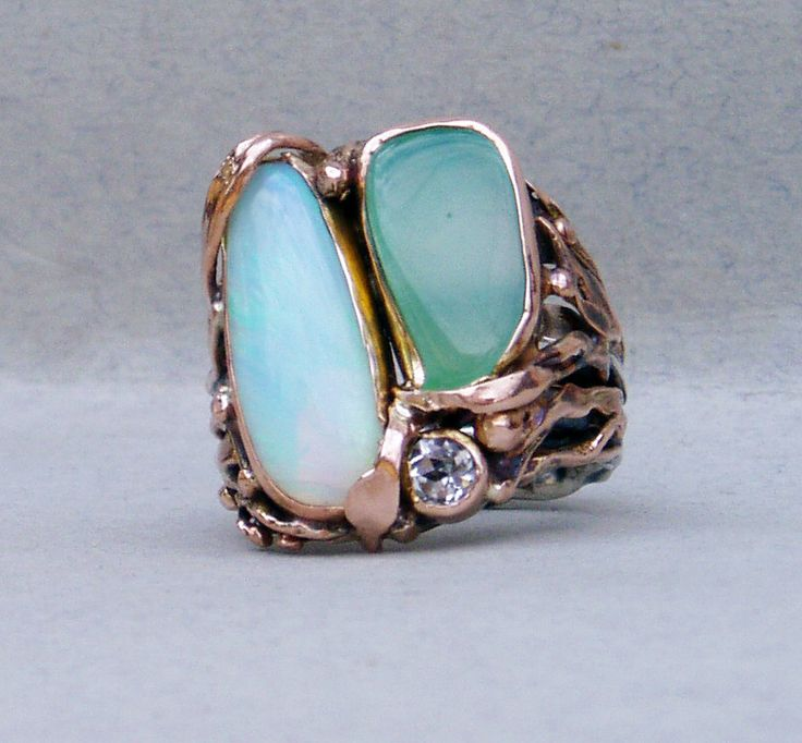 ring-silver,rose gold,opal,crysophrase,white topaz