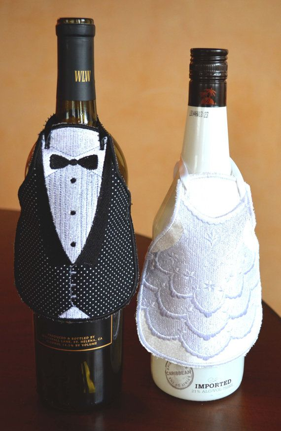 Wine Wrap, Wine Bottle Apron, Wedding Gift Wedding Gift Basket, Bride and Groom, Couple Gift, Shower Gift