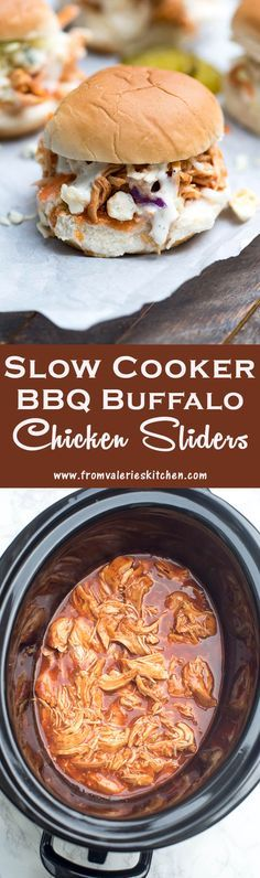 Slow Cooker BBQ Buffalo Chicken Sliders topped with crunchy coleslaw, a drizzle of Ranch dressing and crumbled blue cheese. Perfect for your game day menu! ~ http://www.fromvalerieskitchen.com