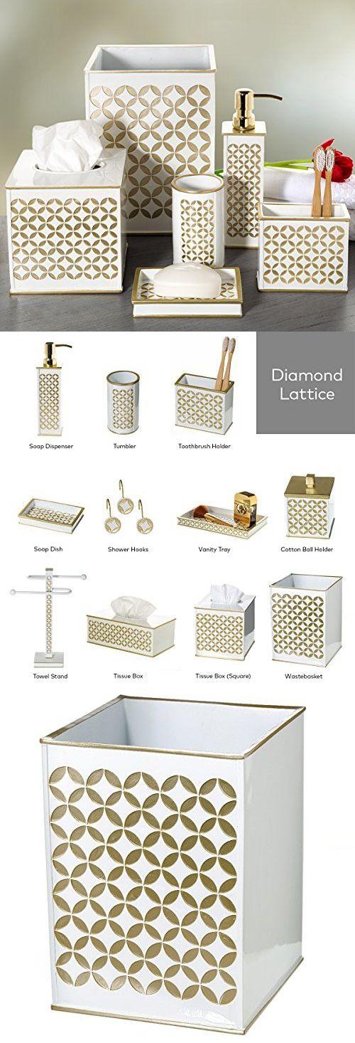 "Diamond Lattice Bathroom Trash Can (7.7""x 7.7""x 10.2"")-Decorative Wastebasket- Durable Resin Waste Paper Baskets- Cool Fashion Design- Space Friendly Bath Rubbish Dust Bin- For Elegant Shower Décor"