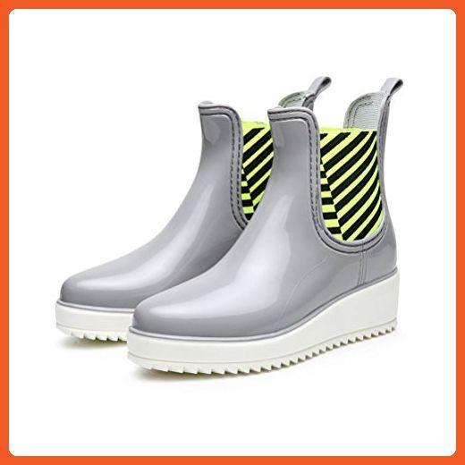 Rainshow Women's PVC Rain Boots Elastics Middle Platform Shoes Waterproof Rain Shoes Grey 9 M US - Boots for women (*Amazon Partner-Link)