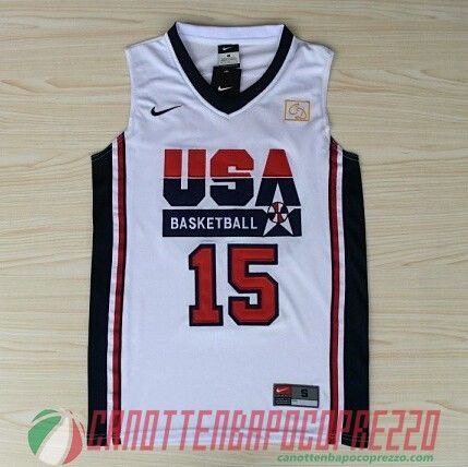 maglie basket USA 1992 Anthony # 15 bianco