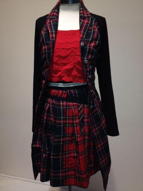Cooper 'Breaking Plaid' coat, 'Tuck Rogers' skirt and the 'Paper Cuts' dress at Trelise Cooper Wellington