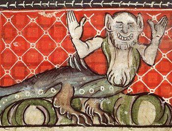 Monstrous Triton, Der Naturen Bloeme manuscript c. 1350, National Library of the Netherlands