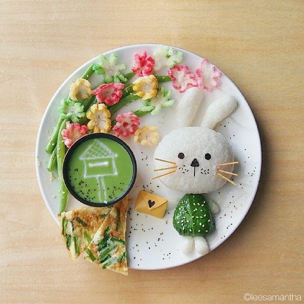 Food art - samantha lee - sakura and bunny