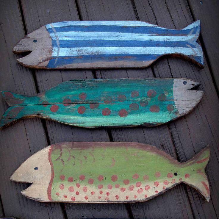 Поддонов из дерева проектов, Окрашенные рыбы, Деревянный Рыба, пляж декор