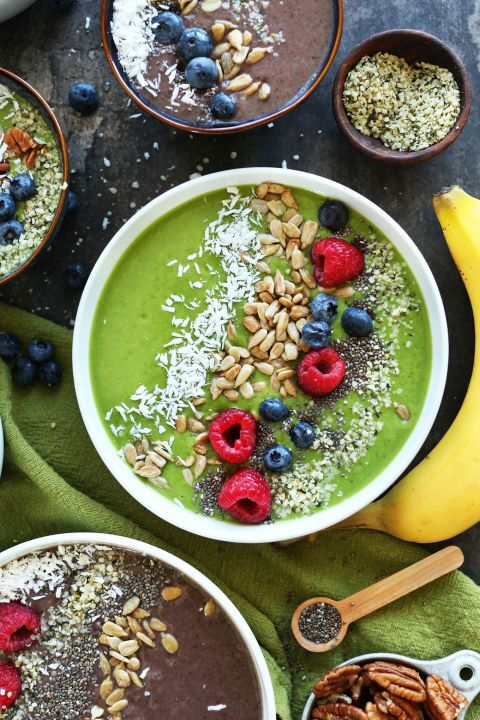 Tired of green smoothies for breakfast? Put it in a bowl. This blend has everything from avocados to mixed berries and spinach, not to mention the drool-worthy toppings.