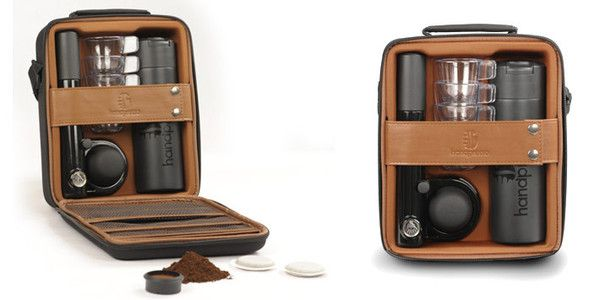 Handpresso Pump Set  Here is the brand new outdoor set containing the Handpresso Pump and the new single-hand thermos-flask It will help you to make your espresso break even better wherever you are! This designed bag contains the small, portable and manual espresso machine called Handpresso Pump enabling you to use either ground coffee or E.S.E. pods.