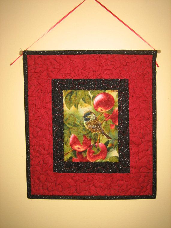 Red Bird on Apples Fabric Quilt Wall Hanging by TahoeQuilts, $28.00 #etsy #handmade #thehotbobbin