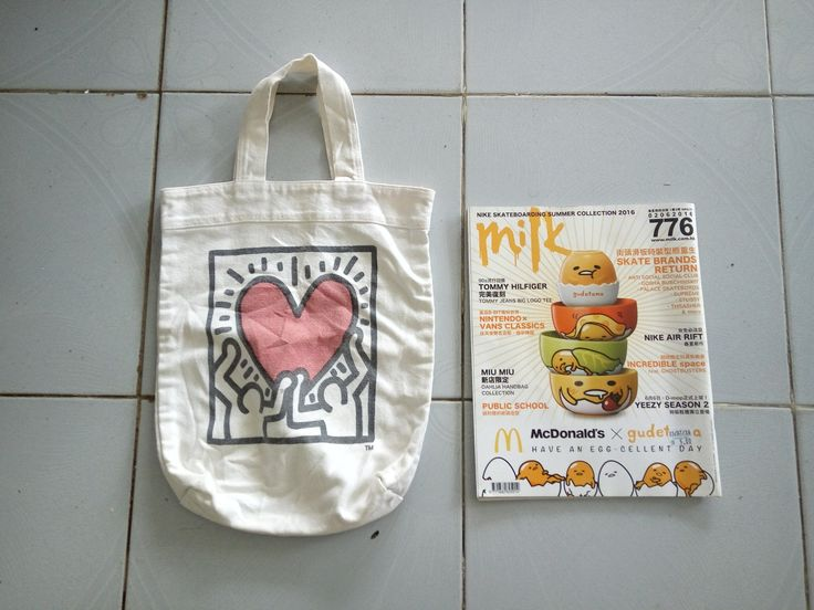 K Haring Tote Bag White Colour by GoShopVintageStore on Etsy