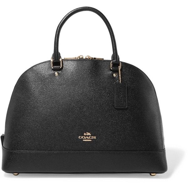 Coach Sierra textured-leather tote ($350) ❤ liked on Polyvore featuring bags, handbags, tote bags, black, tote purses, coach handbags, zipper handbags, zip tote and zip tote bag
