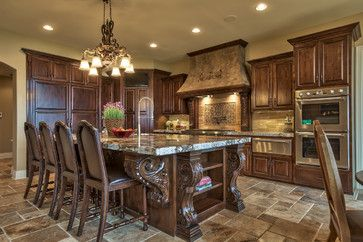good kitchen design with laminated granite top. Street of Dreams 2013 Tuscan Villa - mediterranean - kitchen - omaha - Inspired Interiors