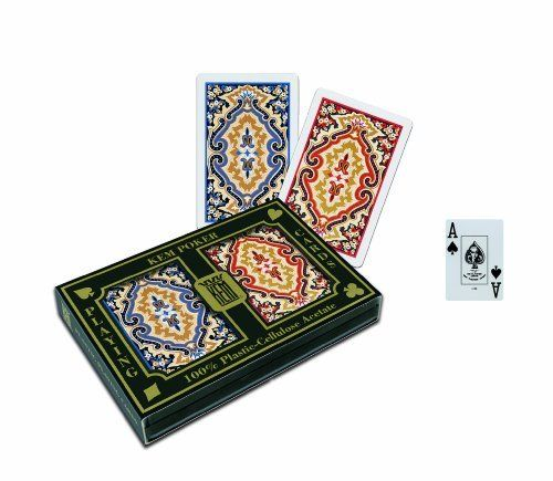"KEM Paisley Narrow (Bridge) Size Jumbo Index Playing Cards by KEM. $27.21. KEM Plastic Playing Cards is a 60-year-old company specializing in one product - playing cards which are 100% cellulose acetate plastic. KEM plastic playing cards contain no vinyl, which is the raw material used by all other playing card manufacturers for their ""plastic"" playing cards. KEM cards can handle the wear and tear like no other brand of card in the industry. KEM's high performance ca..."