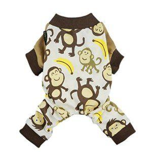 Amazon.com : Fitwarm Soft Cotton Adorable Monkey Dog Pajamas Shirt Pet Clothes, Brown, Small : Pet Supplies