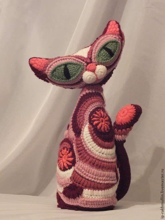 Купить Интерьерная игрушка фриформ - кошка, интерьерная игрушка, фриформ, Вязание крючком, готовая работа