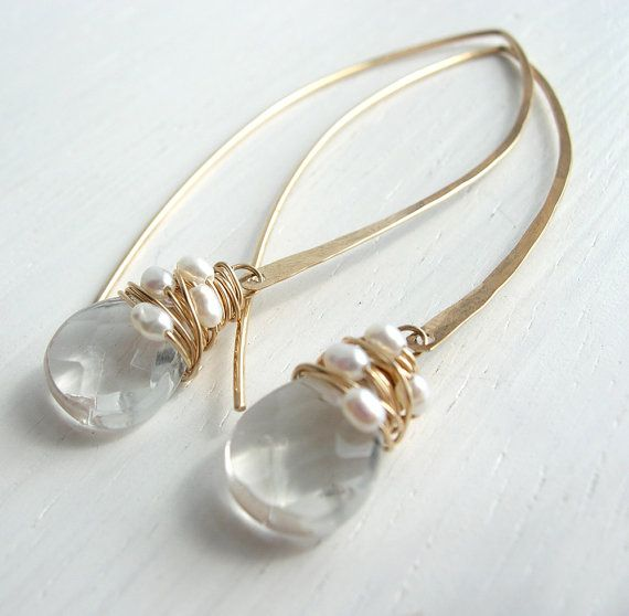 Pearl Woven Crystal Quartz Long Hoops by SarahHickeyJewellery, $78.00