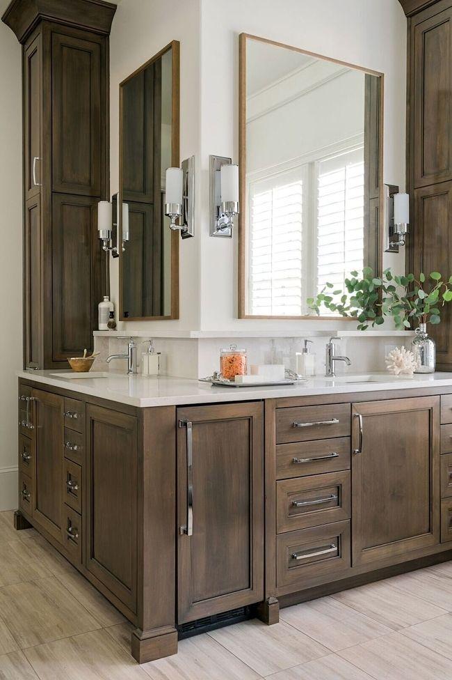 This Home Achieves That Covetable Farmhouse Hgtv Look Bathroom Remodel Master Bathroom Interior Design Bathroom Vanity Designs