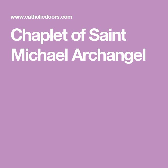 Chaplet of Saint Michael Archangel