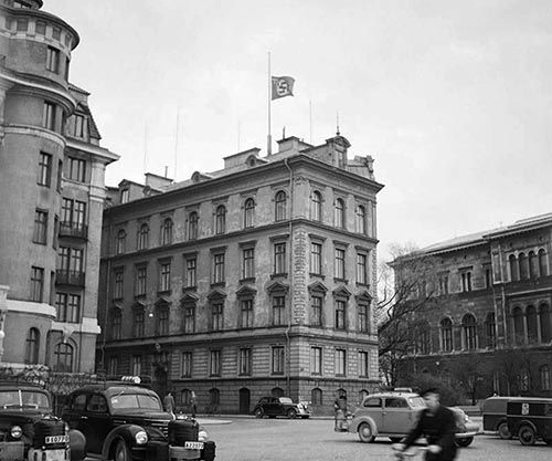 The German embassy in Sweden flying the flag at half mast the day Hitler died, 1945