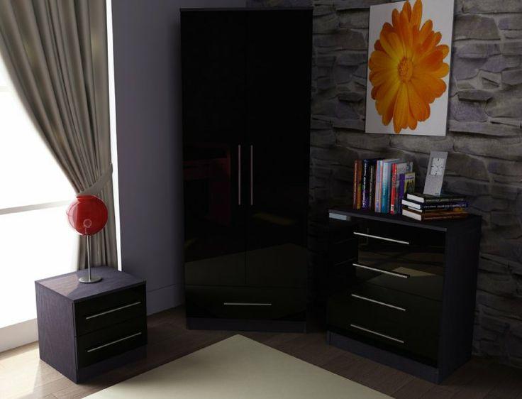 Toronto Caspian Black High Gloss 3 Piece Bedroom Furniture Set 2 Door Wardrobe 4 17