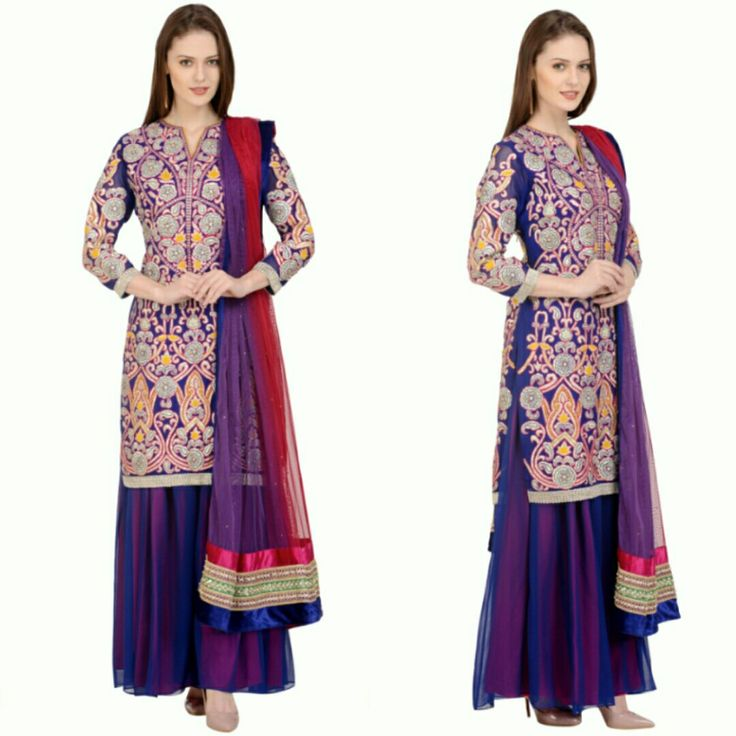 Wear your dream designer outfit at 90% OFF!! Royal blue suit with Bhara Jaal Gota Patti Embroidery Front, Back and Sleeve. Paired with a side Kali Sharara. #1 FREE Alterations #2 FREE home delivery and pick up's #3 TRY at home before your order (Yes! You heard that right!)  Www.offtheramp.com