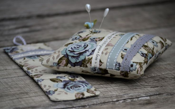 FREE SHIPPING:  Pin Cushion and Bookmark Set, Pin Cushion, Bookmark, Vintage Style, Ribbon, Lace, Grey, Blue, Floral by HeartmadeSouthAfrica on Etsy