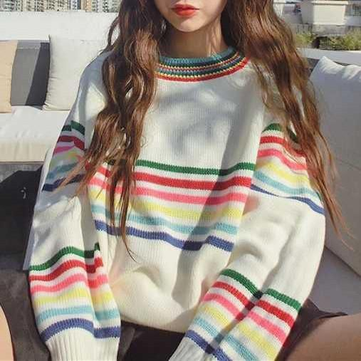 itGirl Shop RAINBOW STRIPES WHITE KNIT VOLUME SWEATER Aesthetic Apparel, Tumblr Clothes, Soft Grunge, Pastel goth, Harajuku fashion. Korean and Japan Style looks