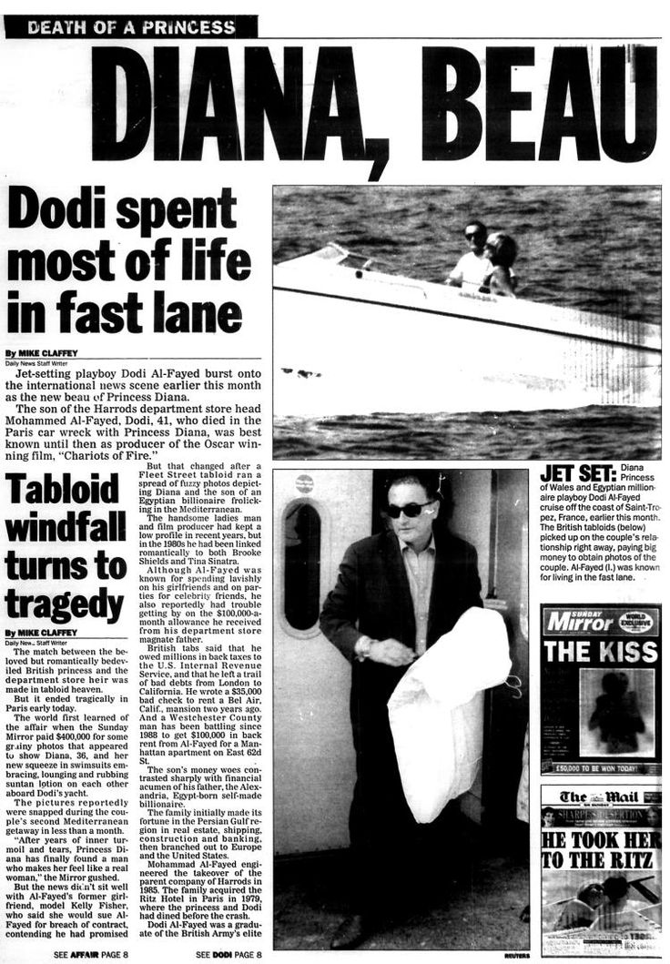 New York Daily News covers the death of Princess Diana in August 31, 1997.