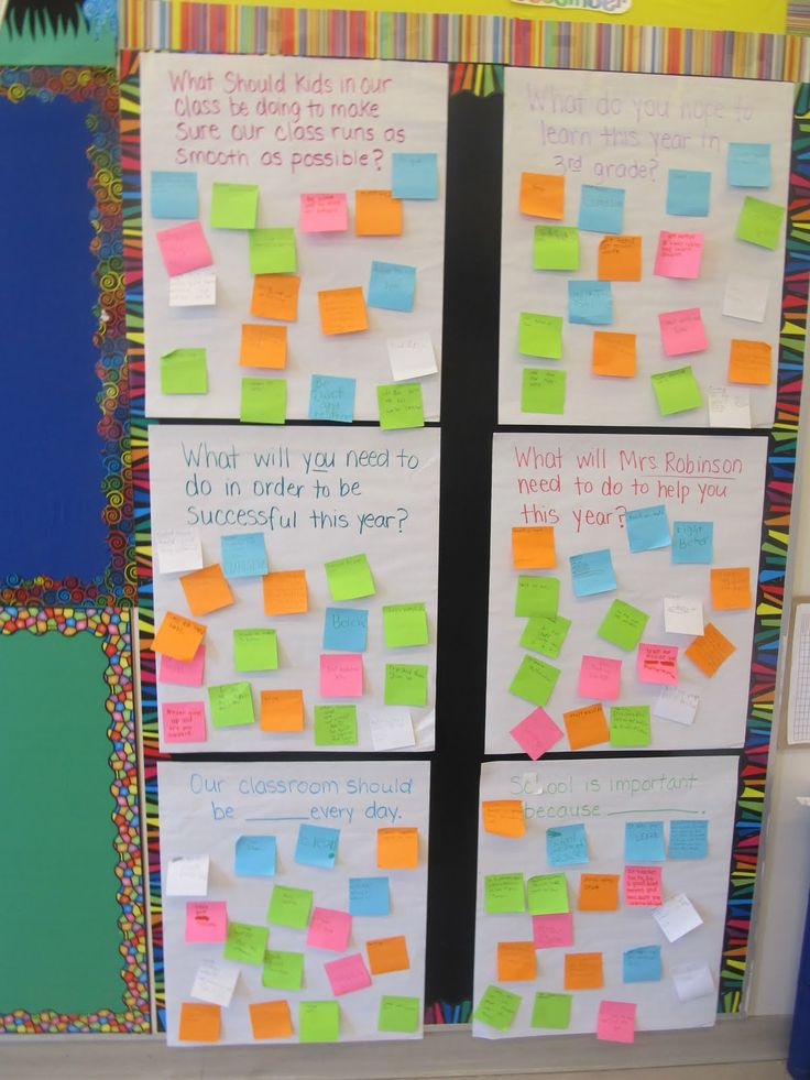 6 Questions for the first week of school - students spend 2 minutes at each question and add responses on posit it notes